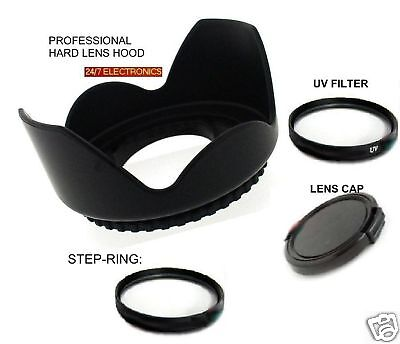 FLOWER HOOD+UV FILTER+LENS CAP+STEP UP 43/52 to Canon VIXIA HF R60 R70 R600 R700