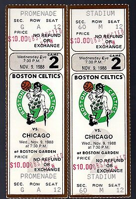 2 November 9, 1988 Boston Celtics & Chicago Bulls Full Tickets 52 Points Jordan