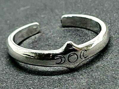 Toe Ring 925 Sterling Silver TRIPLE MOON Maiden Mother Crone Adjustable Pagan