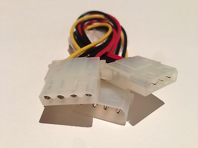 New 4 Pin IDE 1 to 2 Molex IDE Power Supply Y Splitter Exentsion Cable AU Stock