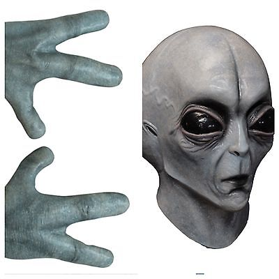 Alien Hands Gloves And Area 51 Mask Halloween Costume Horror Arms UFO Roswell