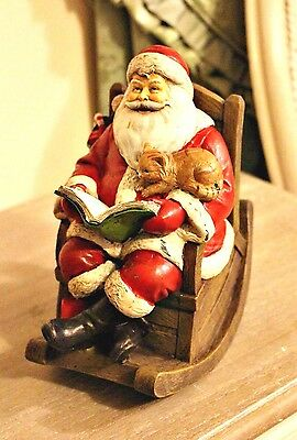 Santa Musical Box Moving & Playing Rocking Chair Ornament Figurine Christmas