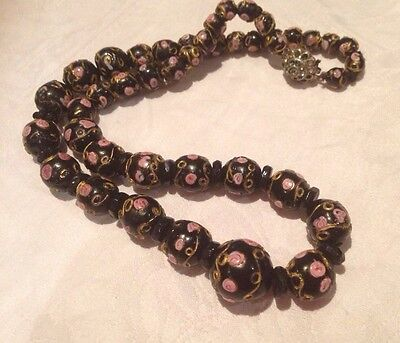 Vintage Venetian Black Wedding Cake Glass Bead Necklace Lamp work