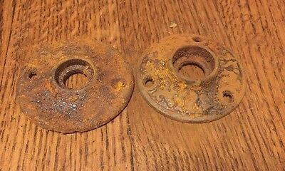 Vintage Door Knob Hardware Trim Skeleton Key Cast Iron Rust Patina Cabinet