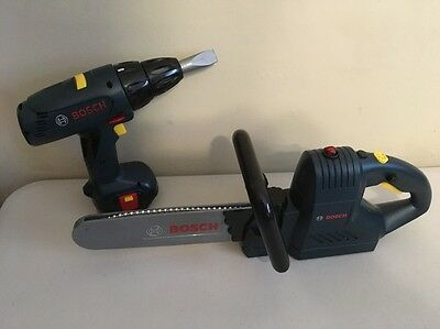 Theo Klein Bosch Electronic Toy Kids Chainsaw + Power Drill Play Tools