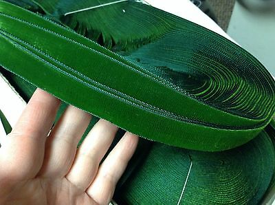 "10 Yards Green 7/8"" Vintage FRENCH VELVET Ribbon Rayon Made in France"
