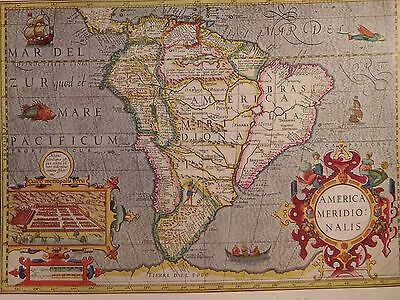 1606 Antique Map Of South America - Mercator-Hondius Atlas - Reproduction Brazil