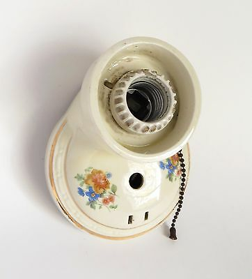 Antique Porcelain Wall Light Fixture with Flowers Vintage 1920's Parts or Repair