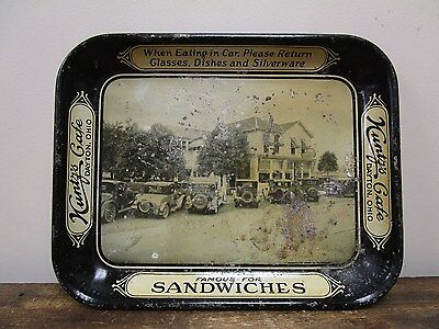 Vintage Kuntz's Cafe Drive-In Serving Tray w/ Old Cars- Dayton, OH Sign