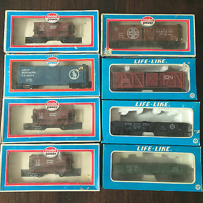 Lot of 25 Life-Like, Model Power, Tyco & Bachmann HO Scale Model Trains In Boxes
