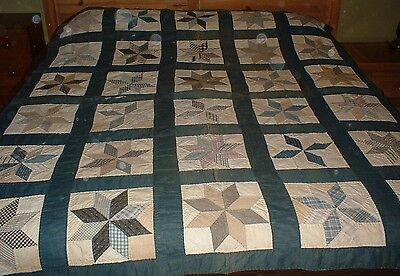 """Antique Vintage  8 Point Star Quilt 1930's Greens and Blues 70"""" x 82"""""""