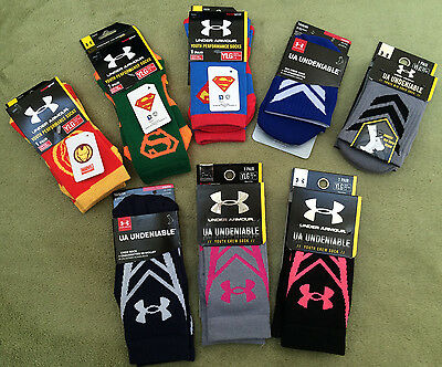 NWT Under Armour Youth Super Hero Undeniable Crew Socks 1 Pair Multi color YLG