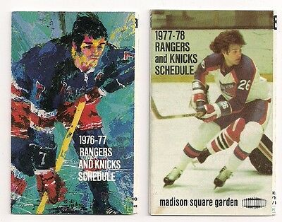1976-77 1977-78 New York Rangers & Knicks NHL NBA Schedules Lot of (2)