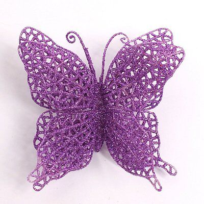 Hot Christmas Ornaments Hollow Glitter Butterfly Party Xmas Tree Hanging Supply