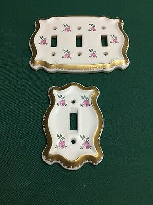 """Ceramic Switch Plates """" Shabby Chic"""" Vintage Floral"""