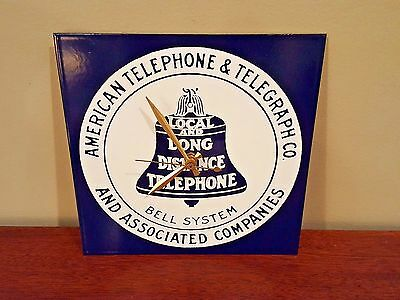 American Telephone & Telegraph Sign Clock - AT&T Metal Sign