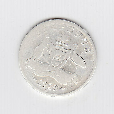 1919 Kgv Aust Sixpence (92.5% Silver) - Nice Vintage Coin