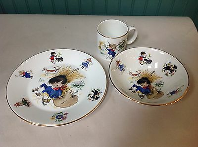 Set Of (3) Farm Life Nursery Rhyme Set (Plate, Bowl, Cup) By Arklow (Ireland)