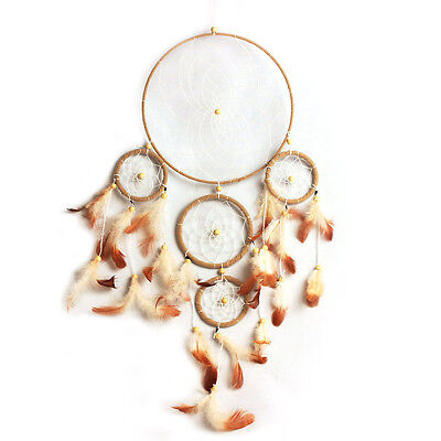 Handmade Dream Catcher with 5 Rings Feathers Wall Hanging Decor Ornament Gift