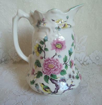 """James Kent OLD FOLEY CHINESE ROSE 7 1/4"""" Tall 32oz Staffordshire Pitcher Jug"""