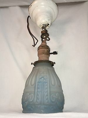Antique Pendant Light Fixture Early 1900s Art Deco Chandelier Blue Shade VTG