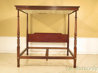 F37699E: Custom Made King Size Antique Carved Canopy Bed