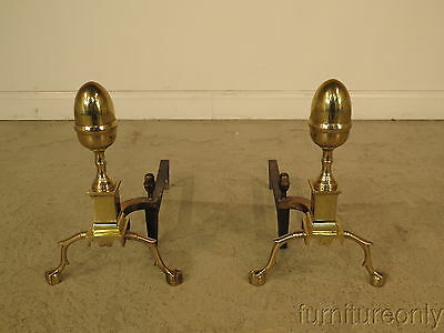 F23024: VIRGINIA METAL CRAFTERS  Acorn Top Chippendale Brass Andirons