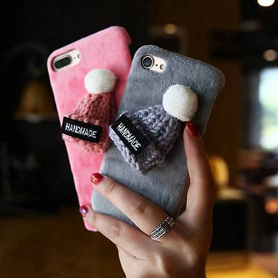 Girly Plush Fur Knitted Beanie Phone Case for iPhone 7 7 Plus iPhone 6 6s 6 Plus