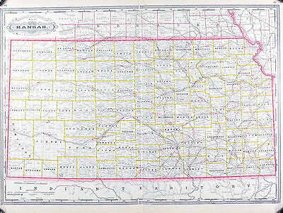 Kansas Railroad and County Antique Map 1887