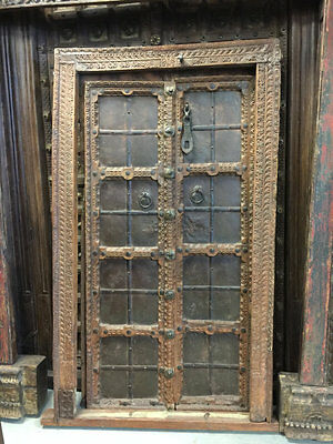 Antique Window Hand Carved Teak Wood Door Boho Shabby Chic Interiors