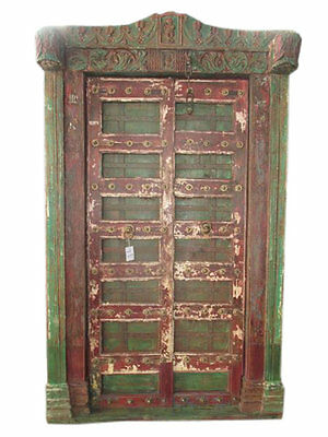 ANTIQUE Krishna DOORS INDIA CARVED TEAK RED GREEN JAIPUR SOUTHERN STYLE 18C