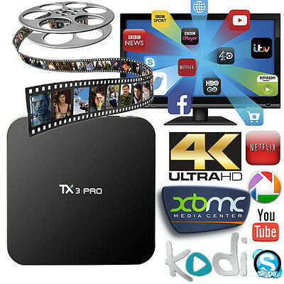 TX3 Pro S905X 1G/8G Android 6.0 4K Quad Core Smart TV Box Free Live Movies