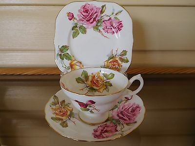 """Vintage Hammersley """"Morgan's Roses"""" Trio Made In England 1930s Mint Condition"""