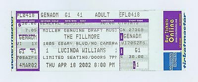 Lucinda Williams Ticket 2002 Apr 18 The Fillmore San Francisco Unused