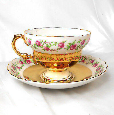 Vintage ROSINA Roses& Heavy Shiny Gold Footed TEACUP & SAUCER Bone China England