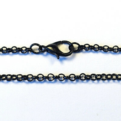 76cm long Ready Made ROLO BELCHER CHAIN NECKLACE pendant findings - BLACK