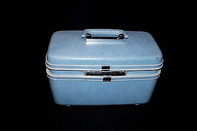 Vintage Samsonite Train Makeup Case Mirror Blue Tray Inner Pockets luggage