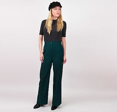 Vintage 70s green high waisted flared wide leg boot cut trouser pants womans S