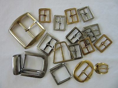 BELT BUCKLES x 17 - Variety shapes & sizes - Gold & Silvertone metal.- AROS etc