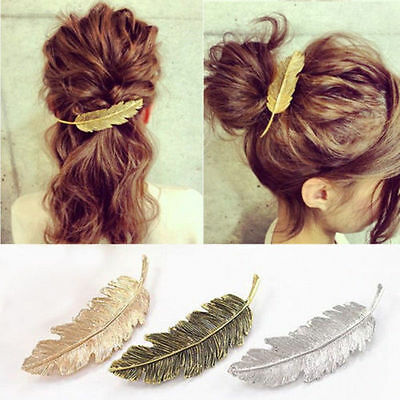 UK Leaf Feather Hair Pin Jewelry Women Vintage Hair Clip Barrette Bobby Pins