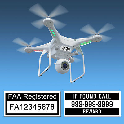 Drone Labels, FAA UAS Certificate of Registration and Phone number