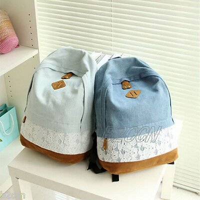 Fashion Women Girls Backpack Floral Lace Denim Rucksack School Bags Shoulder Bag