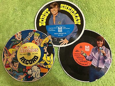 3 Vintage Cardboard 33.1/3 RPM Records. The Archies & 2 Bobby Sherman