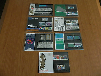 1969 Year Set Of 7 Presentation Packs In Mint Condition