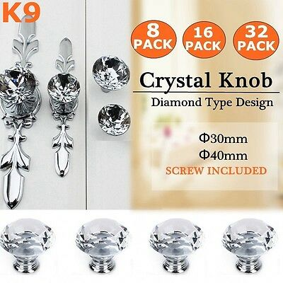 30mm 40mm Round Diamond Clear Crystal Glass Door Pull Drawer Knob Handle Cabinet