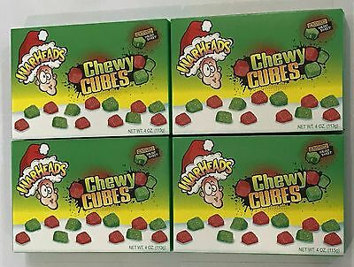 909974 4 x 113g BOXES OF WARHEADS CHEWY CUBES - *CHRISTMAS EDITION* SOUR CANDY!