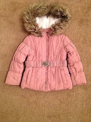 Girls Hooded Coat Age 3 Years Dusky Pink Faux Fur Trim