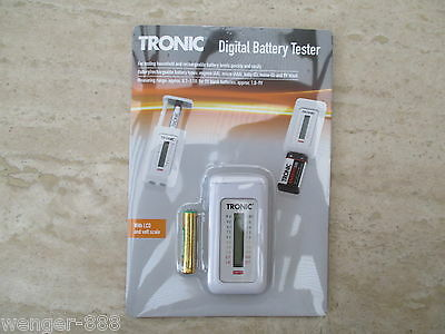 TRONIC - Digital Household & Rechargeable Battery Tester for  AAA, AA, C, D & 9V