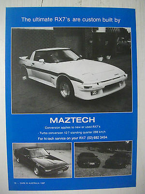 1987 Maztech Mazda Rx-7 Australian Magazine Fullpage Colour Advertisement