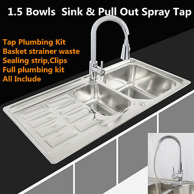 DOUBLE 1.5 BOWL S/S KITCHEN SINK SET BASIN DRAINER PLUMBING KIT + Pull Out Tap